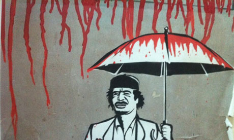 End of his reign? Muammar Gaddafi depicted as a blood-soaked dictator.